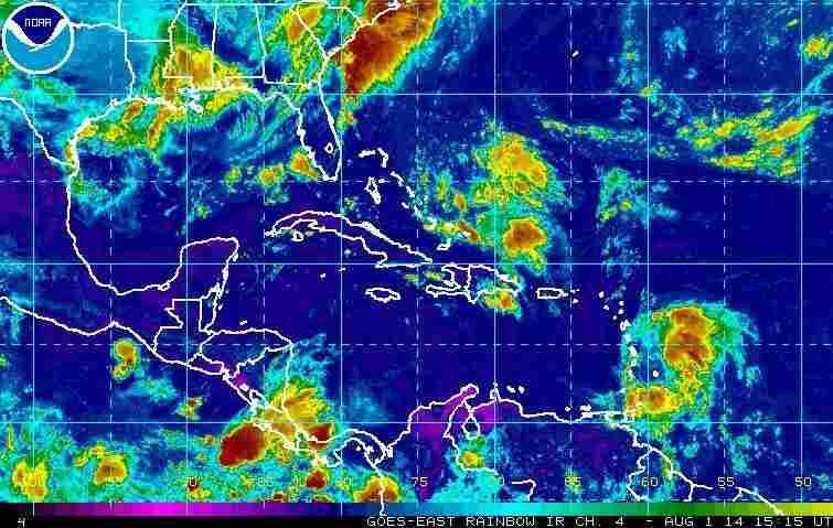 A satellite view of Tropical Storm Bertha.