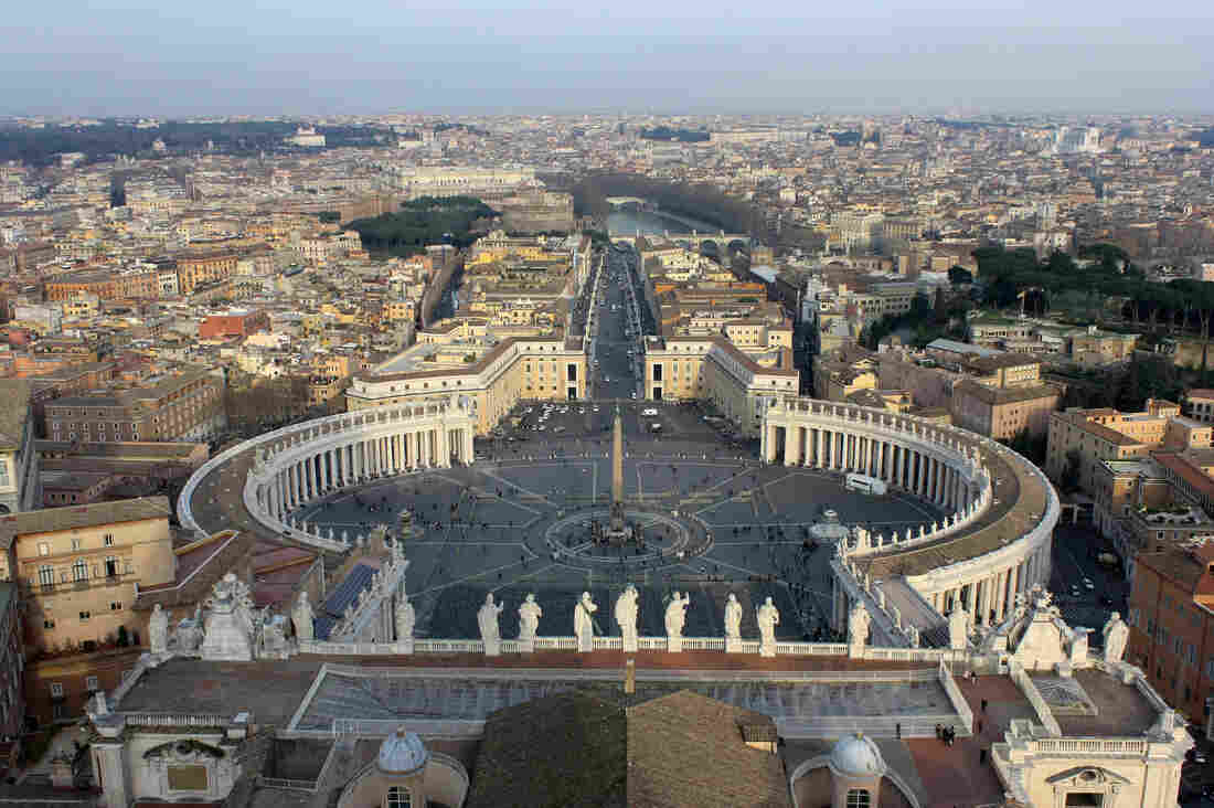 St. Peter's Square, seen from the top of the dome of St. Peter's Basilica in Italy.