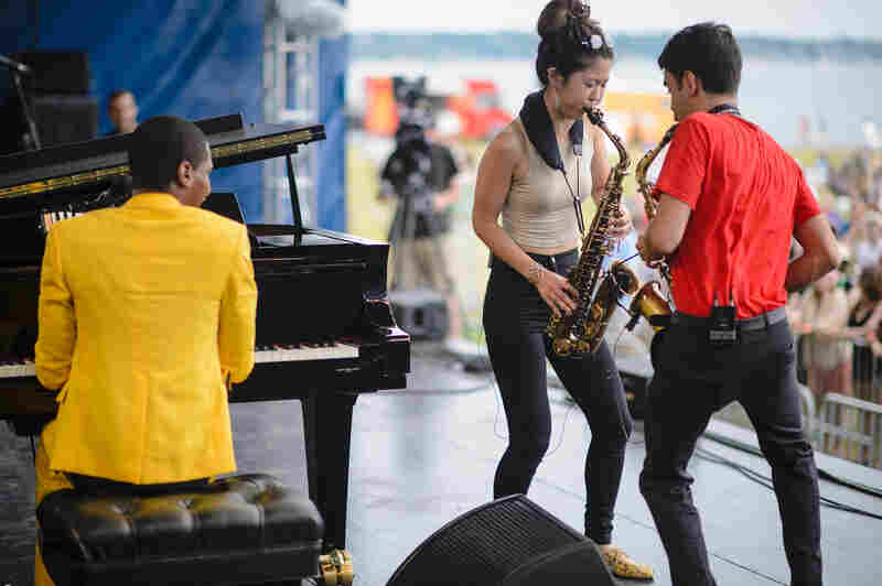 Jon Batiste and his Stay Human band, featuring saxophonist Eddie Barbash, were joined for a tune by saxophonist Grace Kelly.