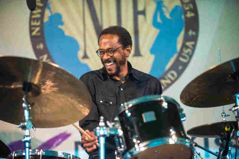 Drummer Brian Blade & The Fellowship Band led off the action on the rainy middle day of the festival. The band released a new album, Landmarks, earlier this year.