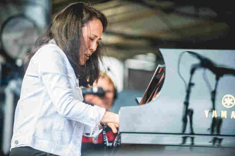 Helen Sung held down the piano chair in the Mingus Big Band, which played a fiery set on the festival's final day.