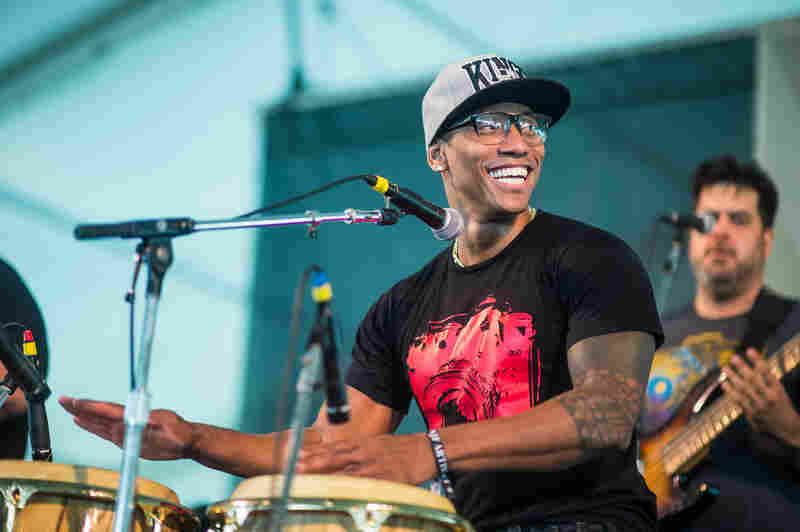 Afro-Cuban conguero Pedrito Martinez led a high-energy set with his Group, a quartet with two percussionists and four-part harmonies.