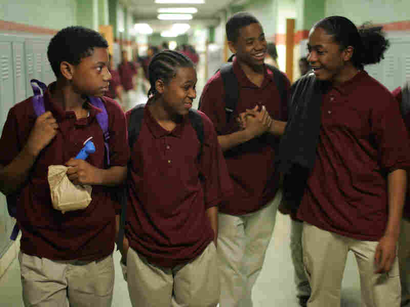 Actors (from left) Jermaine Crawford, Maestro Harrell, Tristan Wilds and Julito McCullum portray students in the Baltimore public school system in The Wire.
