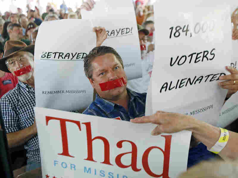 McDaniel supporters protested a speech by Sen. Thad Cochran at the Neshoba County Fair last week