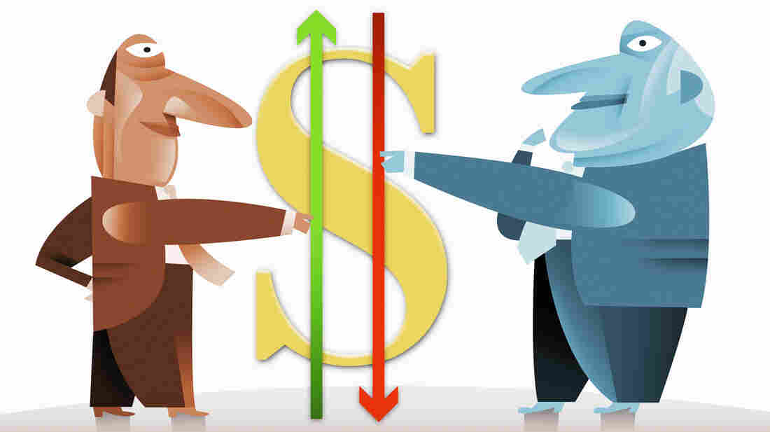 Businessmen holding arrows next to dollar symbol.
