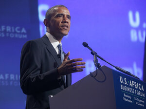 """President Obama speaks Tuesday at the U.S.-Africa Business Forum in Washington, D.C. """"I want Africans buying more American products,"""" he said."""