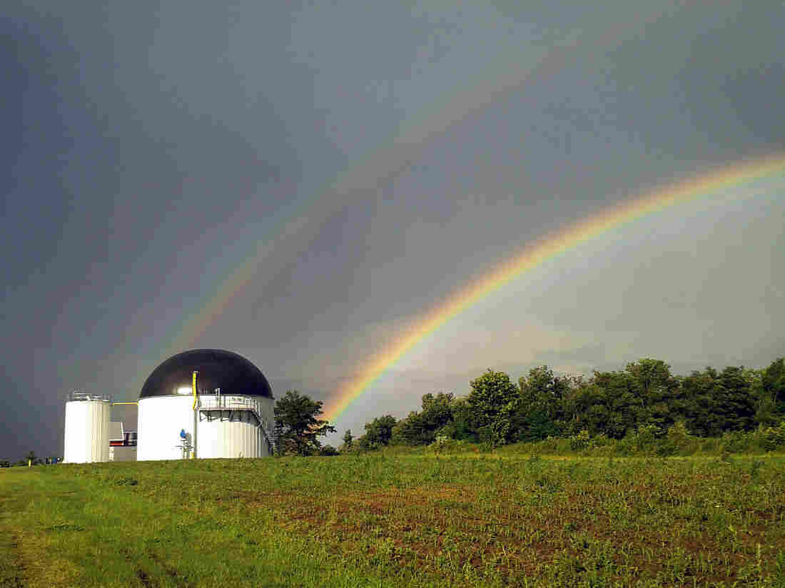 There may not be a pot of gold at the end of these rainbows, but there is an anaerobic digestion facility turning food waste into energy at Jordan Dairy Farm in Rutland, Mass.