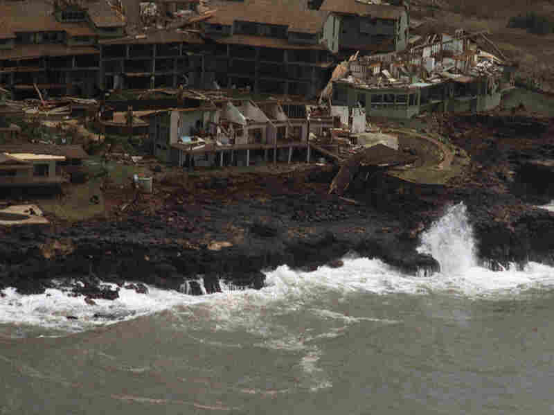 A Poipu Beach resort on the Hawaiian island of Kauai shows heavy damage Sept. 12, 1992, following high winds and rain from Hurricane Iniki.