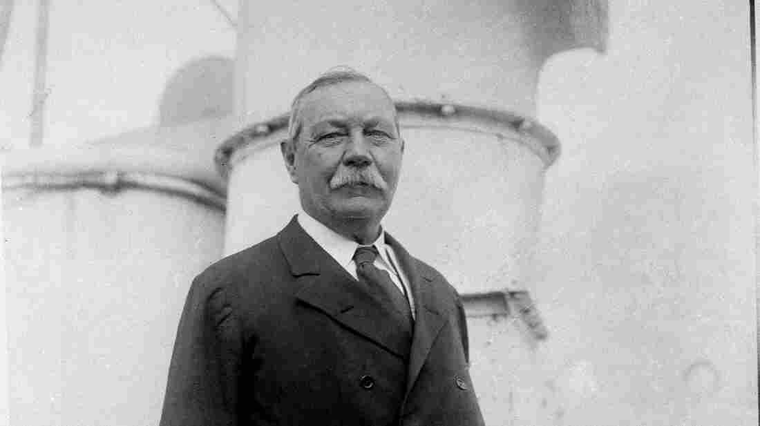 Sir Arthur Conan Doyle, author of the Sherlock Holmes mysteries, is seen aboard the SS Olympic in 1923.