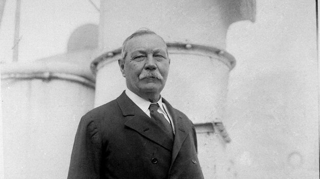 Sir Arthur Conan Doyle, author of the Sherlock Holmes mysteries, is seen aboard the SS Olympic in