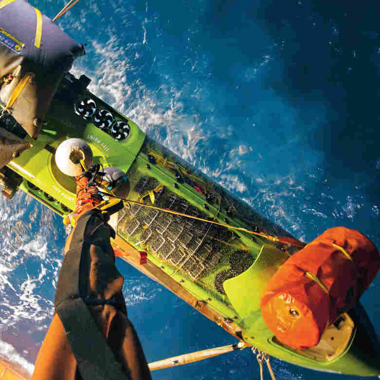 Shown here from a top angle, the 24-foot-long submersible — called Deepsea Challenger, moves vertically through the water.