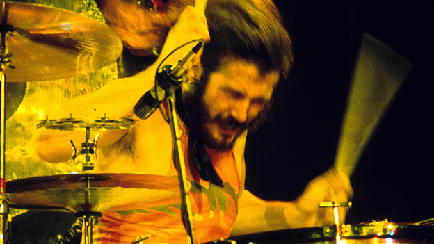 John Bonham of Led Zeppelin at the Los Angeles-area Inglewood Forum in 1973. (WireImage)