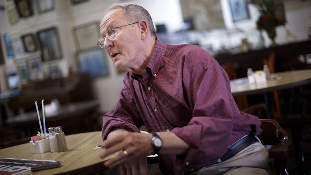 Sen. Lamar Alexander after an Aug. 5 campaign stop in a restaurant in Lawrenceburg, Tenn. The Tennessee senator won his GOP primary race Thursday.