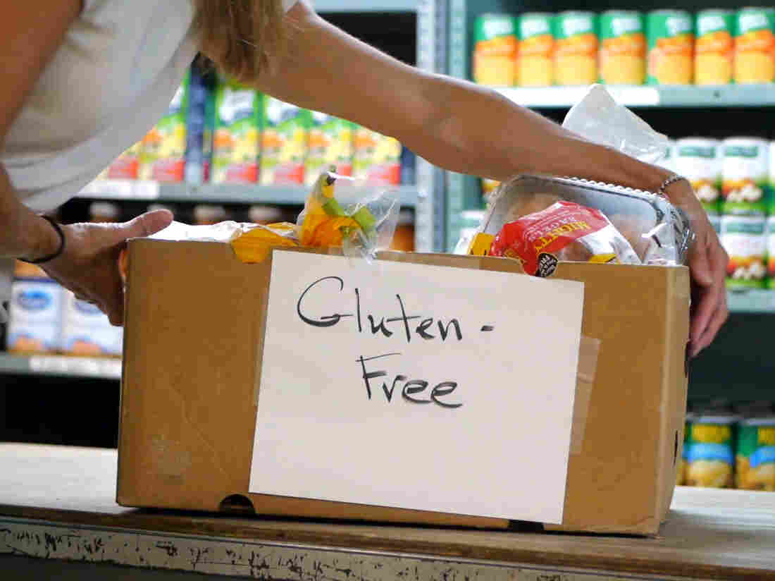 A box of gluten-free food from Pierce's Pantry, a gluten-free food bank in Massachusetts.