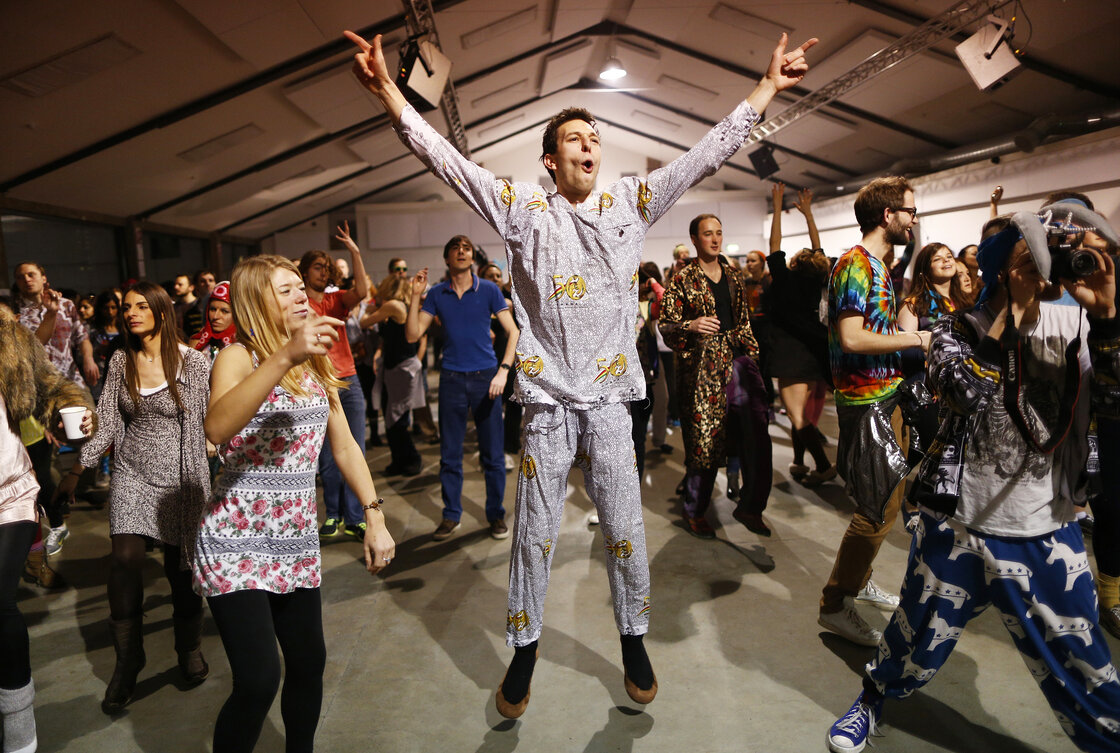 Revelers dance in their pajamas at Morning Gloryville in London in January. The nightclub, which holds a rave once a month beginning at 6:30 a.m., has inspired morning raves in a number of other cities around the world.