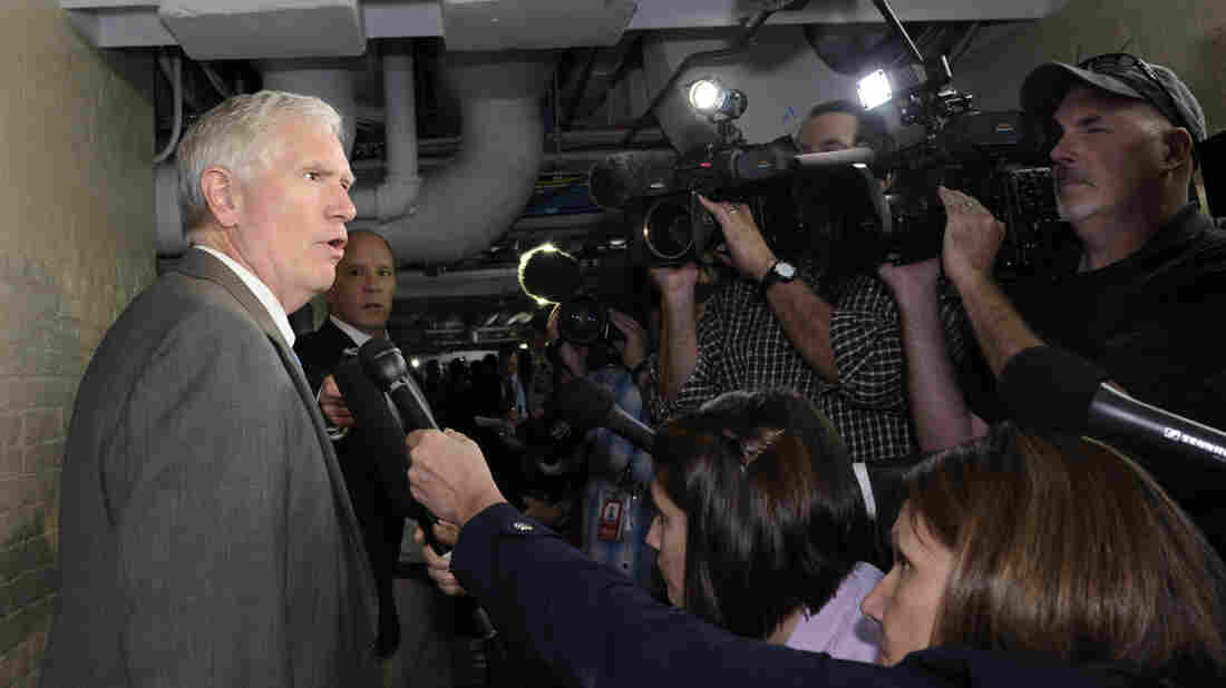 Rep. Mo Brooks, R-Ala., speaks with reporters following a closed-door Capitol Hill meeting in October 2013.