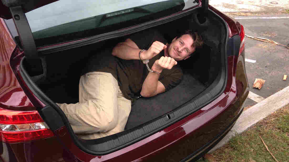 Reporter Jeff Tyler, before being shut into the trunk of a car. Picking a handcuff lock with a barrette was one of several escape skills he picked up at a two-day Spy Escape & Evasion course in California.