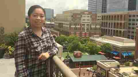 Maya Pines, 17, lives and works in Atlantic Station in Midtown Atlanta. The mall gets its name from the steel mill that operated there in the early 1900s.
