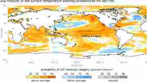A NOAA map shows the forecast for sea-surface temperatures for the months of December-February, 2014-2015. Climatologists say there's a 65 percent chance of an El Nino forming.