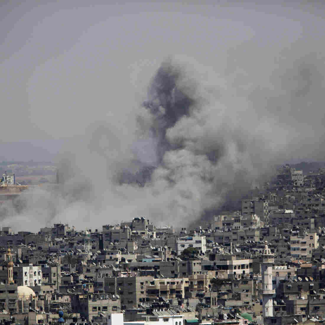 Smoke rises in Gaza City after an Israeli airstrike on Saturday.