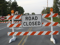 Road closure sign.