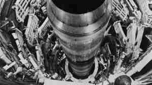 "The Titan II intercontinental-range missile, pictured in 1965, sits ready for launch on its 150-feet-deep underground launchpad. ""The one warhead on a Titan II had three times the explosive force of all the bombs used by all the armies in the second world war combined — including both atomic bombs,"" says investigative reporter Eric Schlosser."