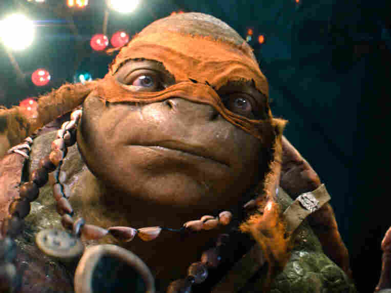 He's wearing a mask, but this is a Teenage Mutant Ninja Turtle under there.