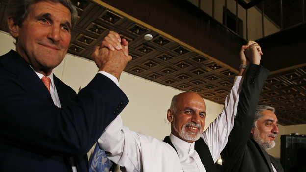 Secretary of State John Kerry and Afghanistan's presidential candidates, Ashraf Ghani (center) and Abdullah Abdullah (right), announce a deal in Kabul on July 12 to audit all Afghan election votes. Kerry returned last week and both candidates reaffirmed their commitment to the audit. (AP)