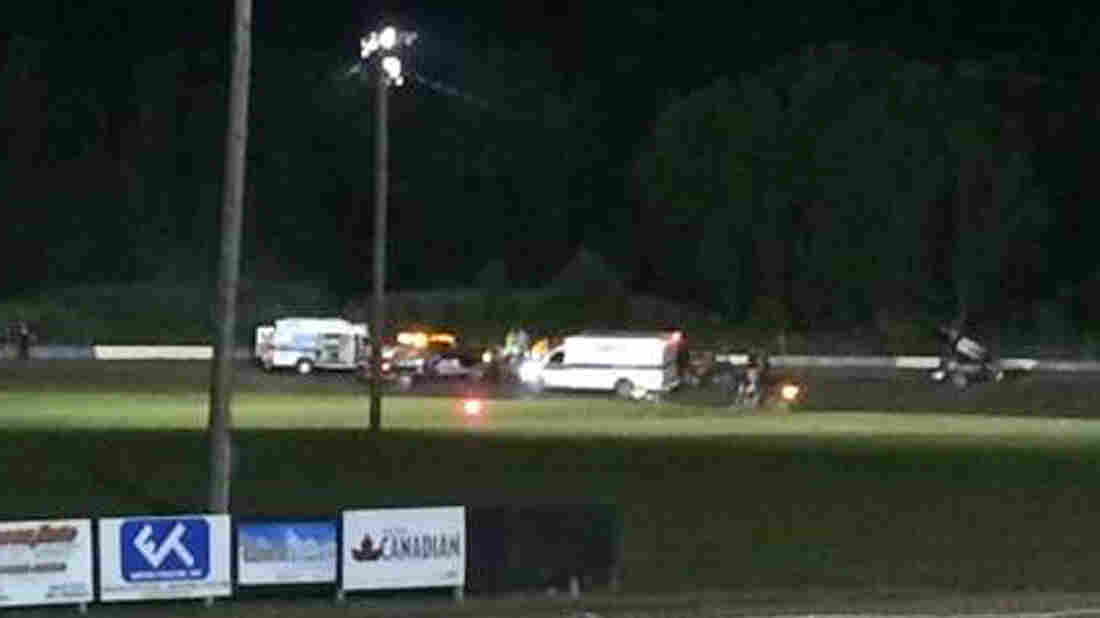 Ambulances converge on the racetrack at Canandaigua Motorsports Park in upstate New York, where driver Kevin Ward Jr. was hit by Tony Stewart on Saturday.