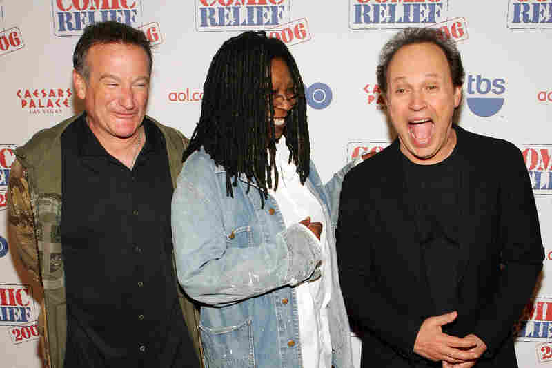 "Comedians Williams, Whoopi Goldberg and Billy Crystal in November 2006 after hosting ""Comic Relief"" at Caesars Palace Hotel and Casino in Las Vegas. The annual event raises money to provide health care services to the homeless."