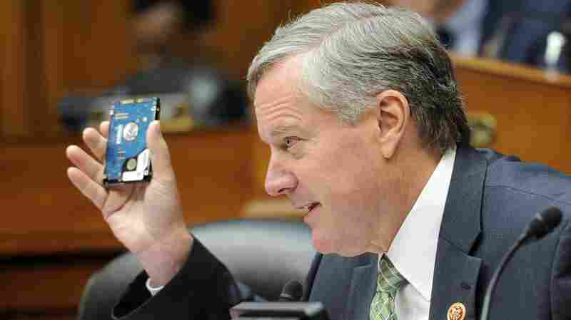 Rep. Mark Meadows, R-N.C., holds up a hard drive as he questions IRS Commissioner John Koskinen during a July 23 hearing.