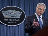 Defense Secretary Chuck Hagel briefs reporters at the Pentagon on Feb. 24.