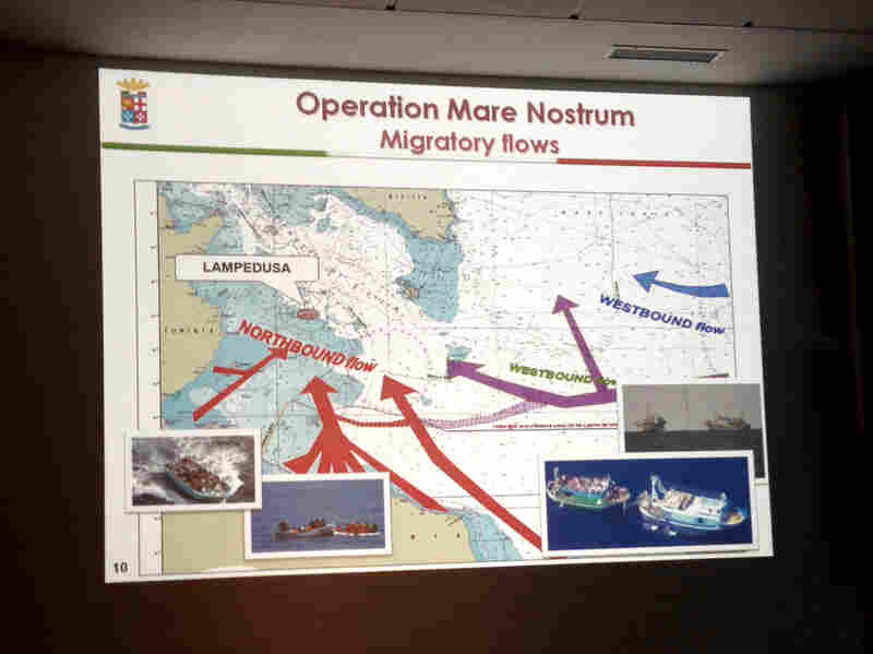 A slide of migratory flows in the Mediterranean Sea from the Mare Nostrum operation is displayed in the control room of the Italian operation, which tracks and intercepts migrant ships en route to Europe.