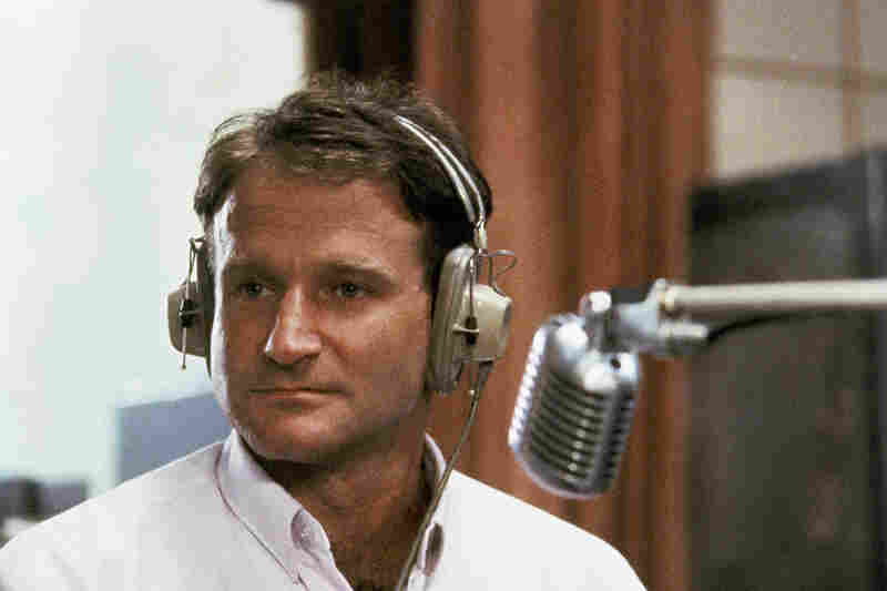 Williams as the wisecracking radio DJ Adrian Cronauer in the 1987 film Good Morning, Vietnam.