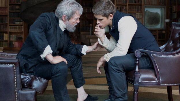 Jeff Bridges (left) produces and stars as the title character in The Giver, alongside Australian actor Brenton Thwaites, who plays Jonas, his young apprentice. The Giver is the firs