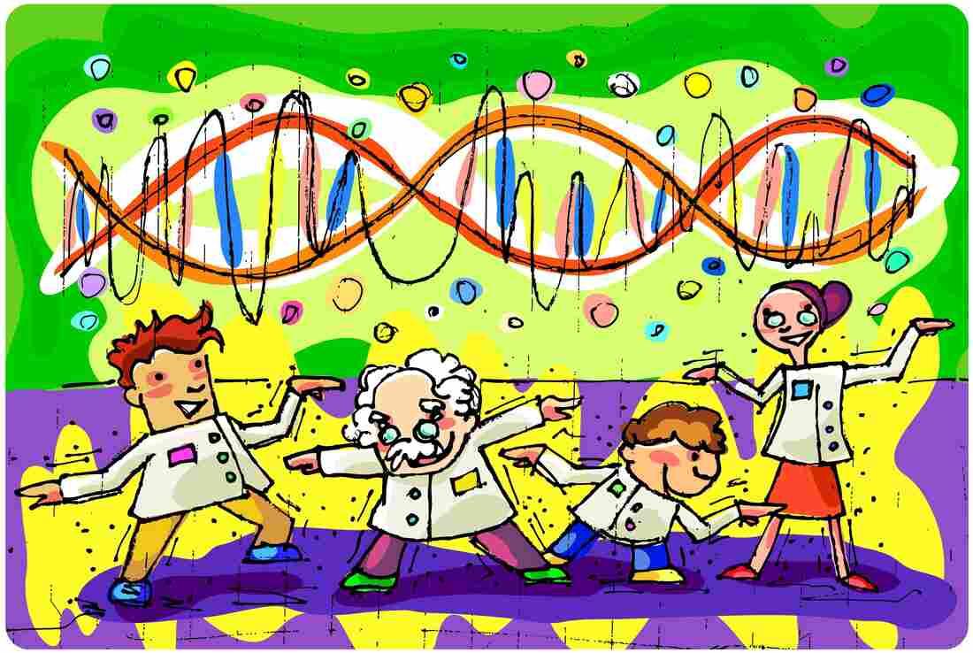 Cartoon scientists dancing.