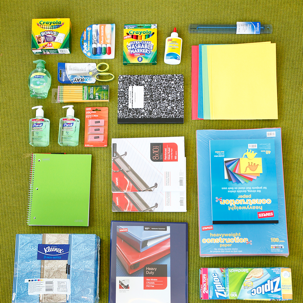 School supplies for a third grader in Arlington, Texas, and a fifth grader in Palmer, Alaska.