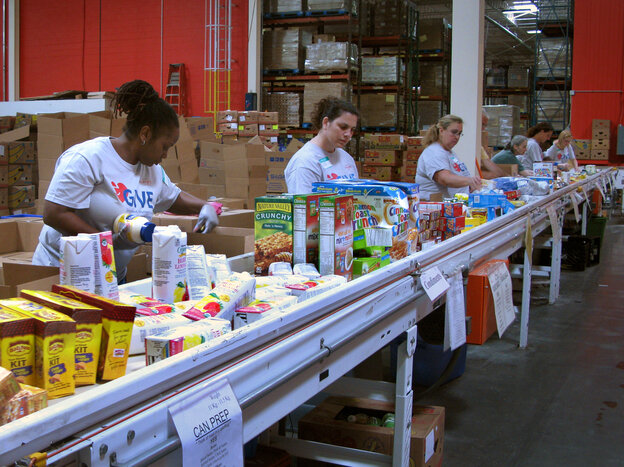 Volunteers at the Maryland Food Bank in Balt