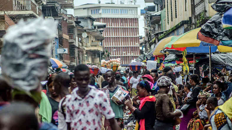 Sierra Leone is one of the countries affected by the current epidemic. Downtown Freetown still bustles despite the outbreak.