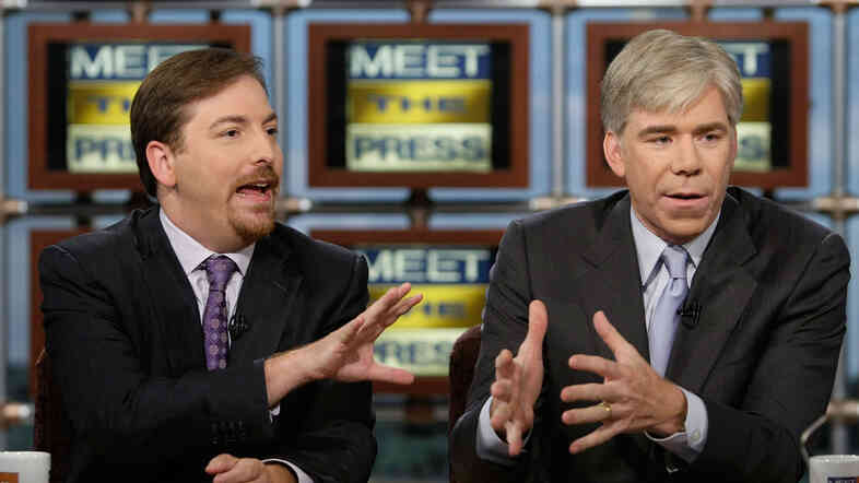 Chuck Todd (left) and David Gregory appear together on NBC's Meet the Press in 2008.