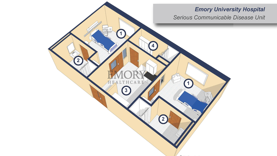 Negative air pressure at Emory University Hospital's Serious Communicable Disease Unit ensures that air moves only from the hallway to the anteroom to the patient room and not in the opposite direction. While useful in preventing the spread of airborne infectious diseases, it is not a crucial feature for limiting Ebola, which is not airborne. (Emory University Hospital)