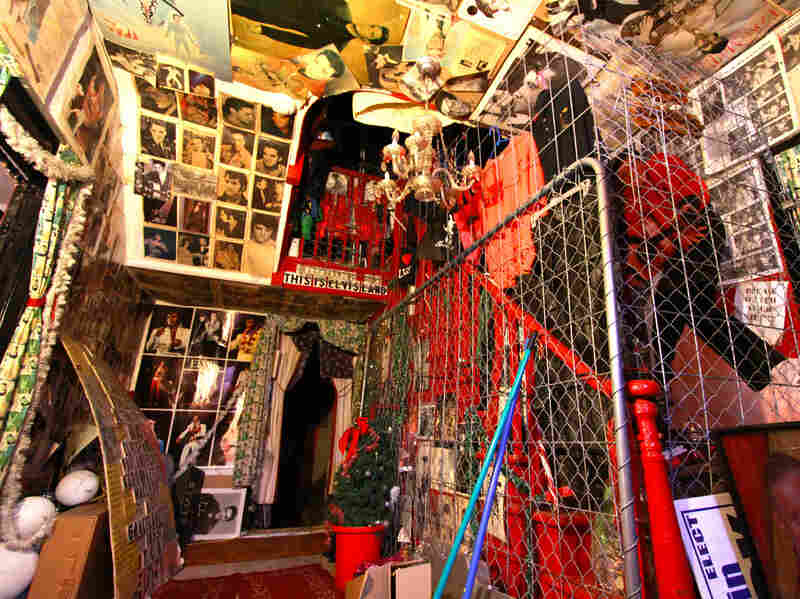 The entry to Graceland Too, like the rest of the house, is jampacked with Elvis mementos.