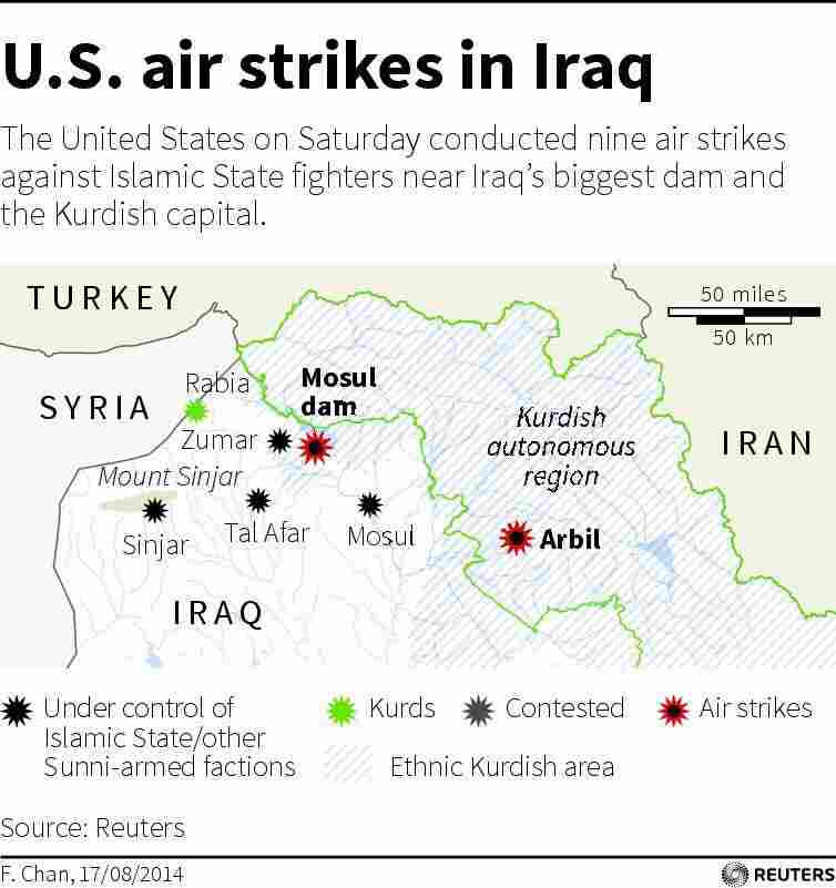 "Map of northern Iraq locating Mosul dam and the Kurdish capital Arbil (also spelled ""Irbil""), where the U.S. carried out airstrikes targeting Islamic State fighters on Saturday."