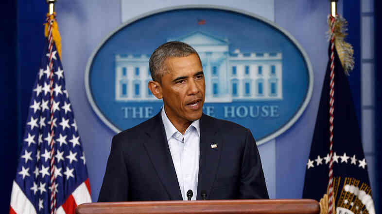 President Obama speaks during a press conference at the White House on Monday about the situation in Iraq and the ongoing violence in Ferguson, Mo.