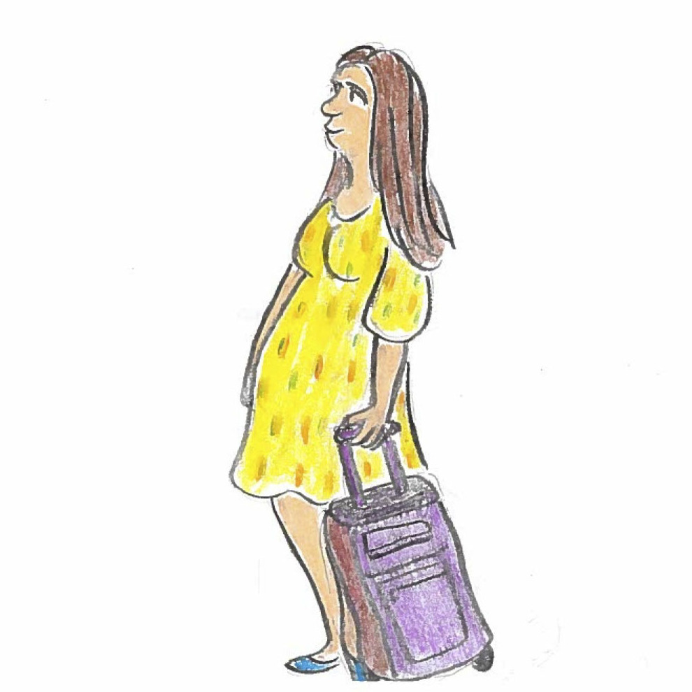 A pregnant American woman boards a plane.