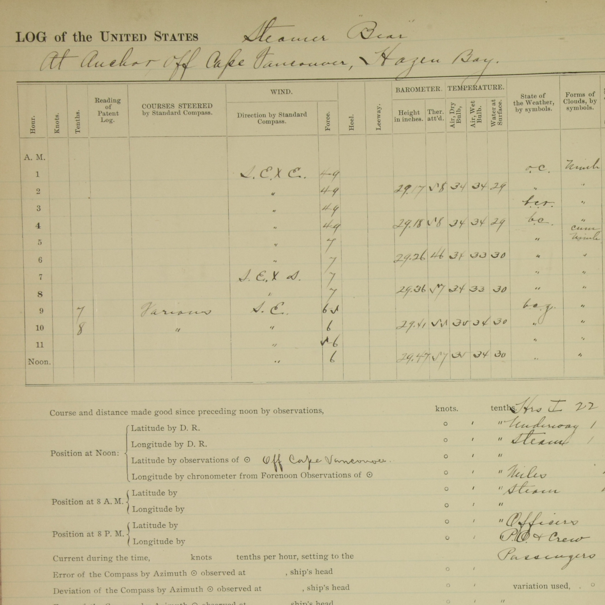 Log of steamer Bear for December 16, 1897.