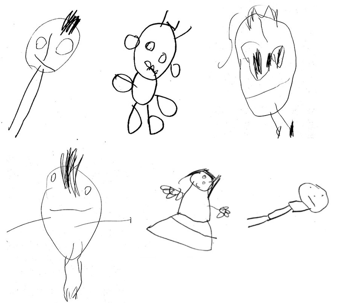 Researchers asked 4-year-olds to draw a child. Here's a sample of their artwork.