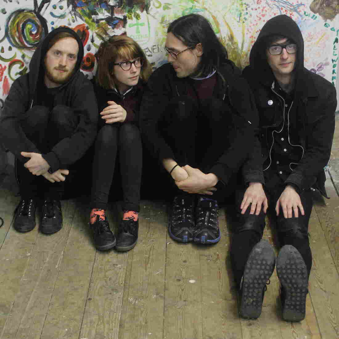 Nathan Stephens Griffin, Naomi Griffin, Daniel Ellis and Jc Cairns of the British punk band Martha.