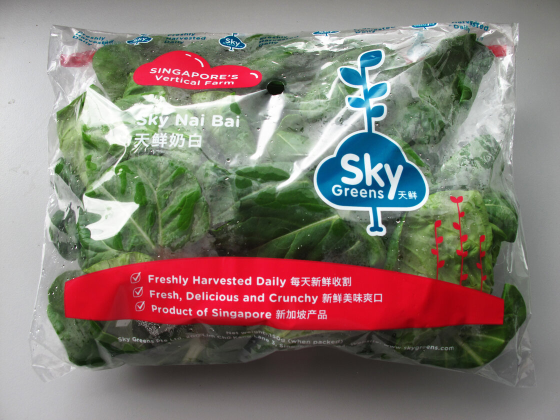 Sky Greens' leafy greens, such as nai bai (similar to bok choy), cost about 10 percent more than vegetables from Malaysia and are sold through FairPrice, a local supermarket chain.
