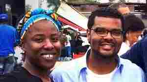 Tiffany Flowers and Alderman Antonio French in front of QuikTrip in Ferguson, Mo.